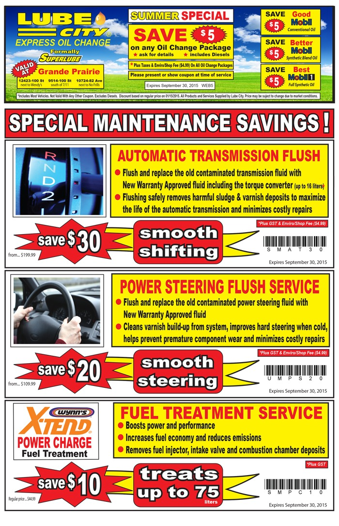 Oil change and transmission fluid change coupons