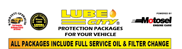 Lube City Oil Change Protection Packages for your Vehicle. All Packages include full service oil and filter change.