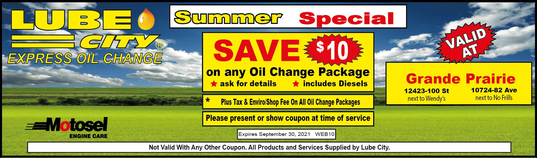 lube city grande prairie oil change coupon